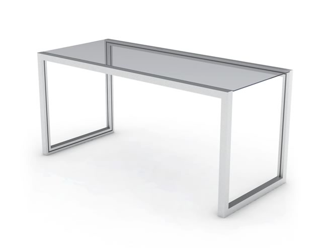 Desk table made of aluminium and glass