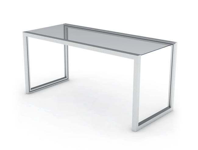 Mesa escritorio de aluminio y cristal