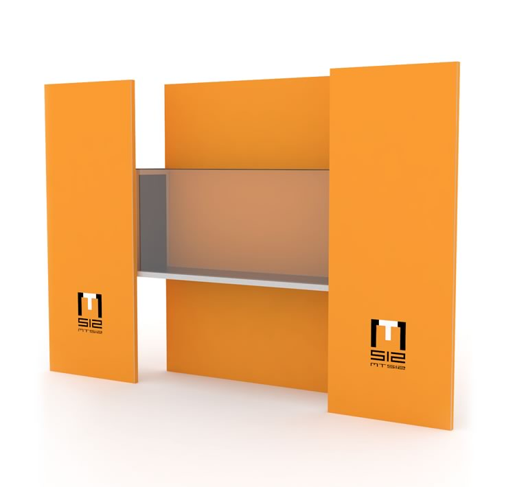 Display cabinet with three panels for museums and exhibitions