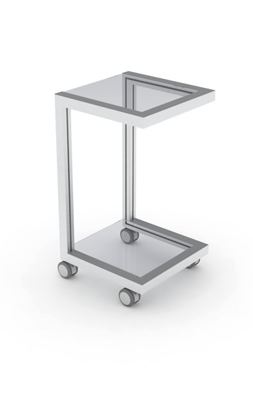 Mobile table with wheels for the computer monitor